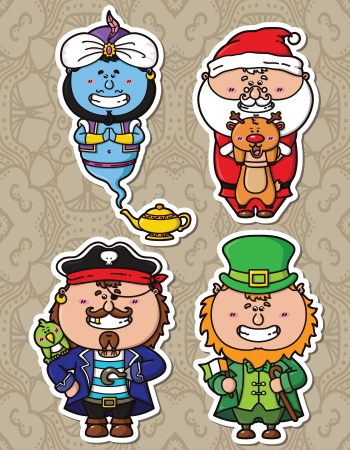 Vector illustrations of funny fantasy characters from children books Vector