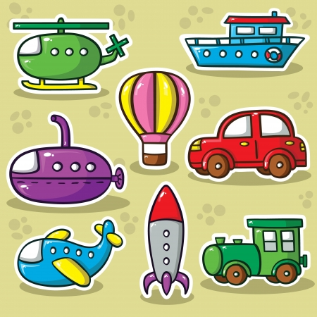 Collection of cute vector transportation toys