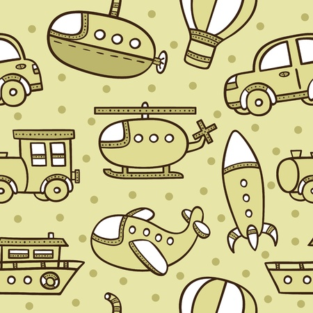 seamless baby boy pattern with transportation Vector