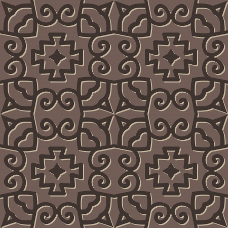 Grey vector seamless medieval pattern with ethnicity motif