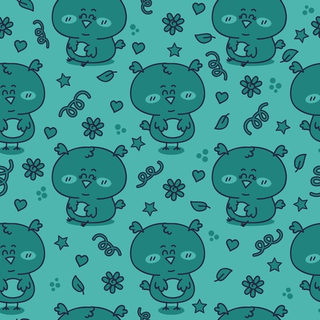 Vector seamless pattern with adorable friendly owls Stock Vector - 21167886