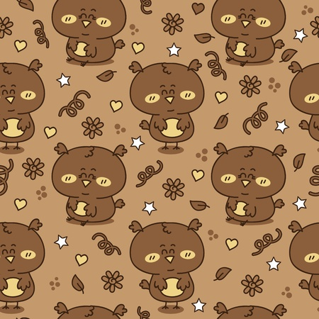 Vector seamless pattern with adorable friendly owls Stock Vector - 21167887