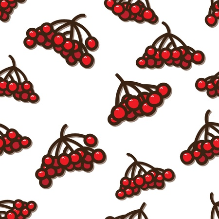 guelder rose: Vector Seamless pattern with red berries of viburnum Illustration