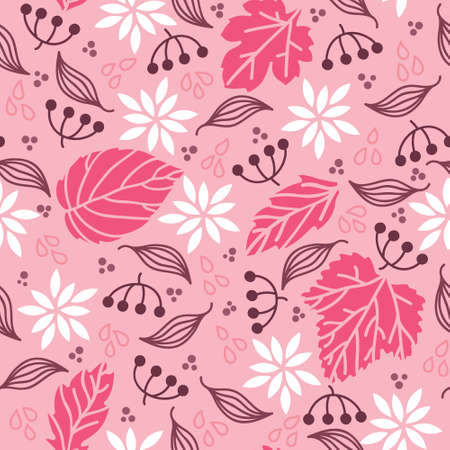 Vector Seamless pattern with leafs and branches