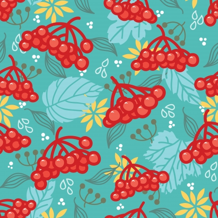 guelder rose:  Vector Seamless pattern with red berries of viburnum and leafs