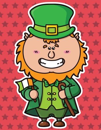 st patricks party: vector illustration of kawaii Leprechaun which is holding irish flag Illustration