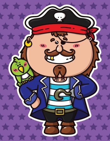 vector illustration of kawaii Pirate with a parrot on his shoulder Stock Vector - 21427826