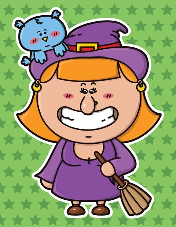 vector illustration of kawaii Witch with broomstick in hand and with an owl on her hat Vector