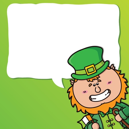 vector festive card with kawaii Leprechaun which is holding irish flag Vector