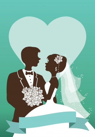 Vector wedding invitation card with  silhouettes of couple