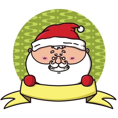 Santa badge  vector illustration of cute kawaii Santa with ribbon   Illustration