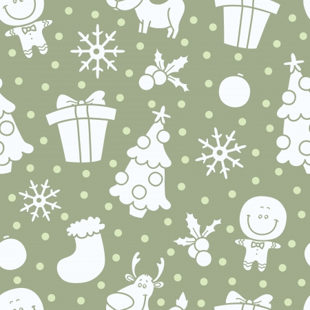 soft Christmas  seamless pattern with Christmas elements Vector