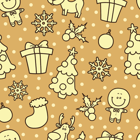 Christmas  seamless pattern with Christmas elements Vector