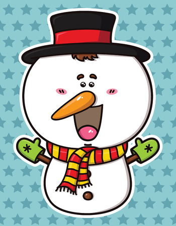 vector illustration of kawaii Snowman which is wearing top hat and gloves Stock Vector - 22448924