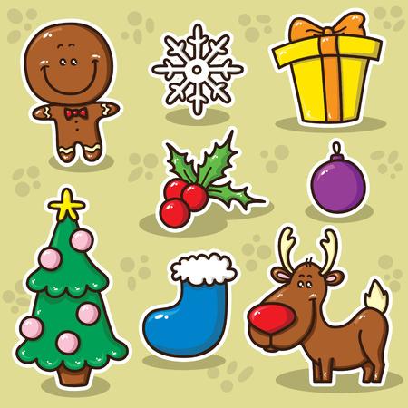 renos de navidad: Colección de iconos lindos del vector de Navidad