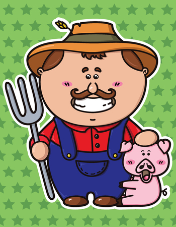 vector illustration of kawaii Farmer which is holding a pitchfork
