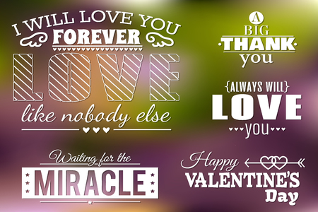 Vector set of lovely calligraphic designs on blurry background eps 10