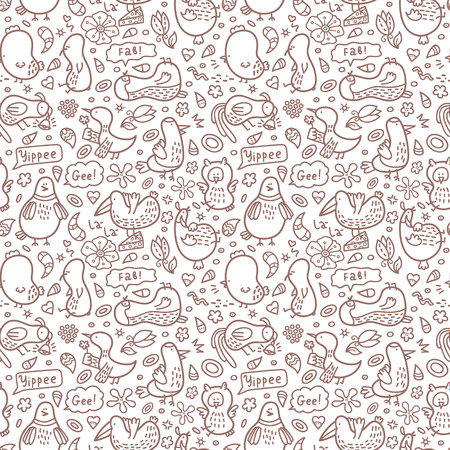 Vector doodle seamless birds pattern with some their habits Illustration