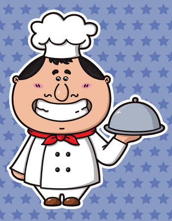 vector illustration of kawaii Cook  which is holding a dish Stock Vector - 23010185