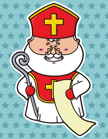 st  nicholas: Vector Illustration of funny St  Nicholas  which is holding list