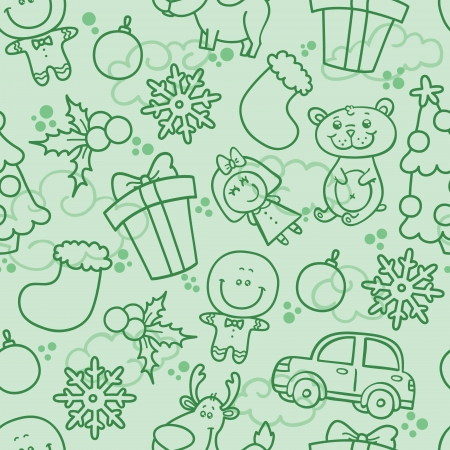 Vector Christmas cute seamless pattern with Christmas elements Vector
