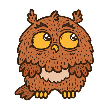 Baby owl Vector illustration of adorable friendly owl Illustration