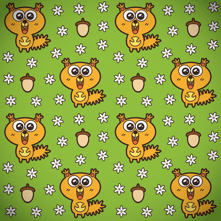 Vector seamless pattern of funny squirrels, camomiles and acorns Vector
