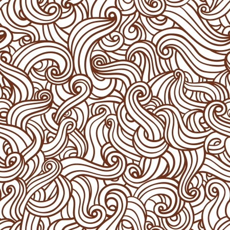 crazy hair: Seamless vector doodle pattern with waves  Illustration
