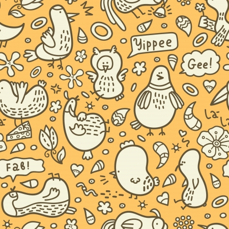 yellow doodle birds pattern  Vector doodle seamless birds pattern with some their habits Vector