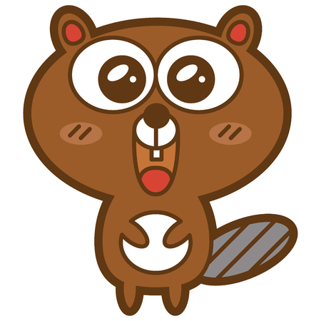 Funny beaver  Vector illustration of adorable friendly beaver Stock Vector - 24647565