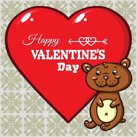 valentine s day teddy bear: teddy bear and heart  Vector illustration of cute little bear and red heart