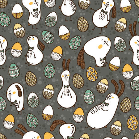 doodle Easter pattern  Vector