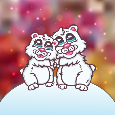 valentine s day teddy bear: happy family of polar bears   Beautiful vector romantic invitation card with couple of  polar bears