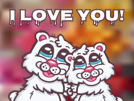 Beautiful vector romantic card with polar bears Vector
