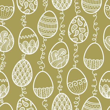 outlines doodle Easter pattern  Vector seamless doodle easter pattern with Easter eggs Vector