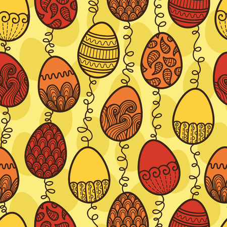 doodle Easter pattern  Vector seamless doodle easter pattern with Easter eggs Vector