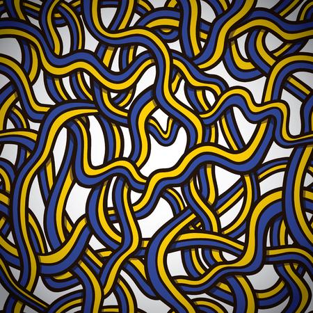 Ukrainian tangled doodle pattern   Seamless vector doodle pattern with Ukrainian ribbons Vector