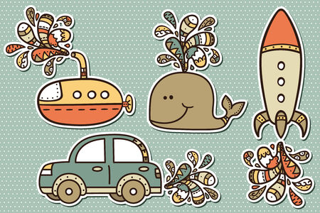 Vector illustration of transportation stickers for baby-shower Vector