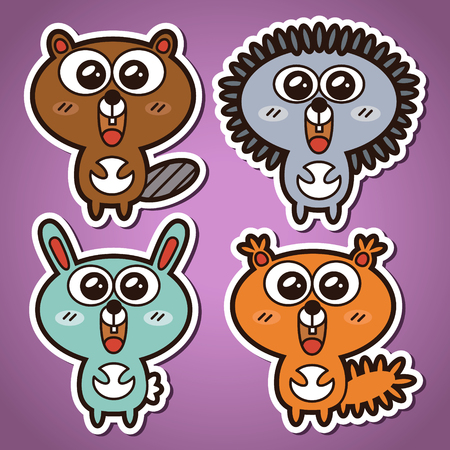 funny vector stickers collection of forest animals Vector