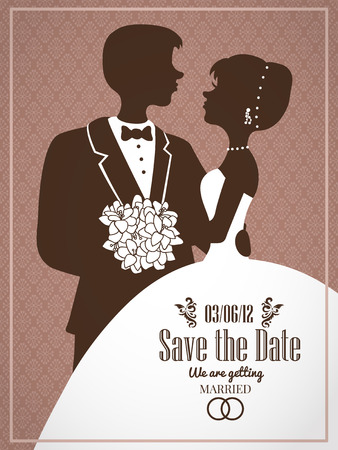 elegant wedding invitation card with silhouettes of couple