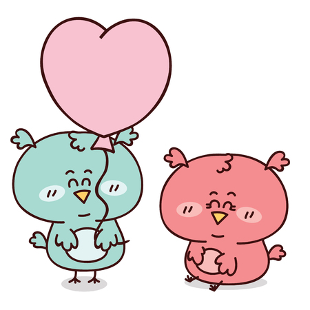 romantic couple of adorable friendly owls Vector