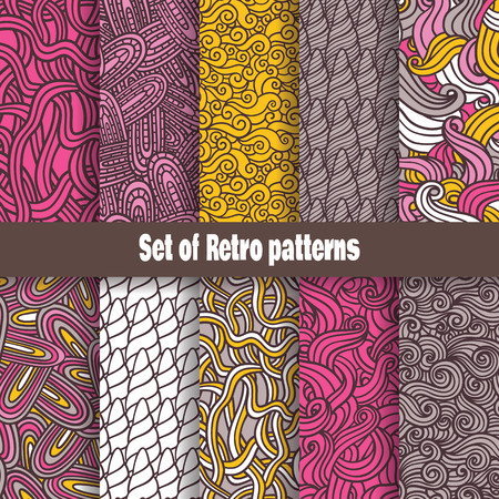 Retro pattern collection  Vector retro seamless set of hand-drawn waves patterns Vector