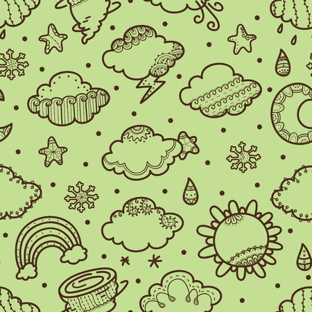 retro weather pattern  vector delicate seamless pattern with hand drawn weather symbols Illustration