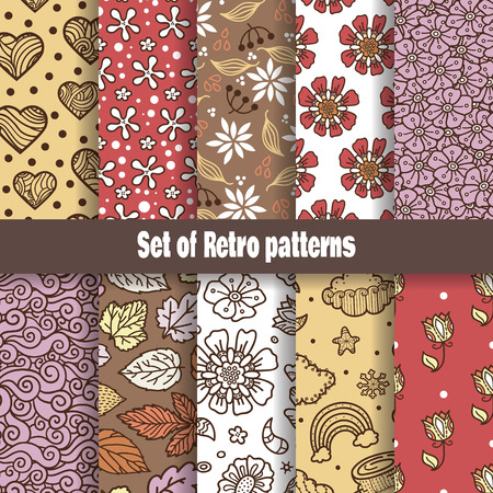 Retro pattern collection  Vector retro seamless set of hand-drawn patterns Vector