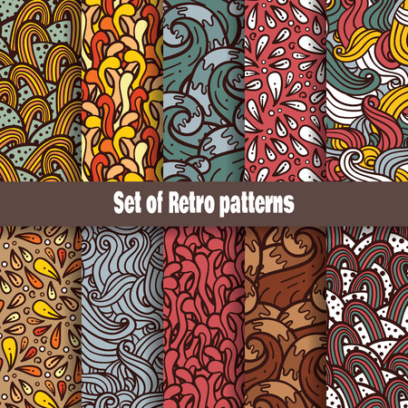 Retro doodle pattern collection  Vector retro seamless set of hand-drawn doodles patterns Vector
