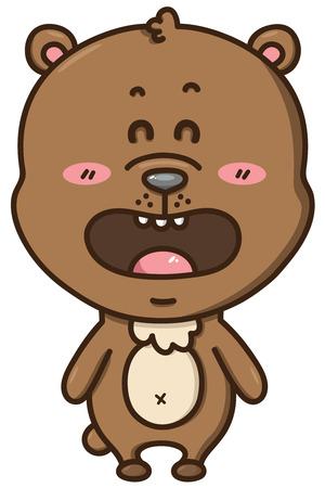 kawaii bear illustration of happy cartoon bear Ilustrace
