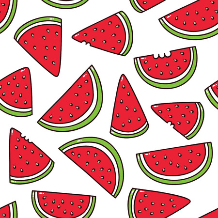 watermelon pattern  summer seamless pattern with cartoon watermelon Vector