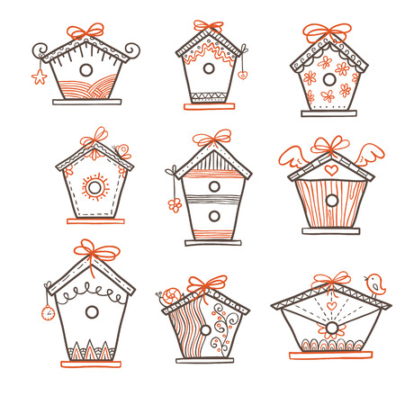 hand-drawn bird boxes  cute hand-drawn bird houses Vector