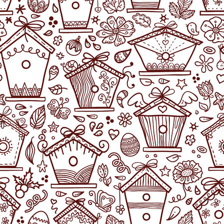 cute hand-drawn bird houses   Vector
