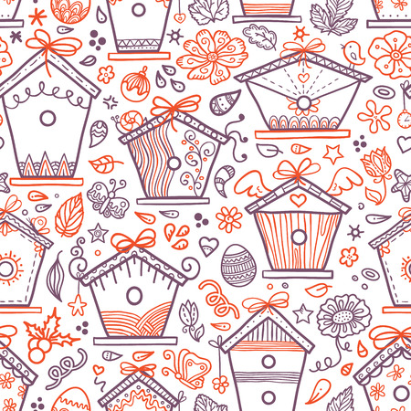 cute hand-drawn bird houses  Vector seamless pattern with hand-drawn bird houses and other elements Vector